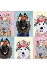 Mia Charro More Floral Pets, Floral Puppies in Multi, Fabric Half-Yards 129.101.07.1