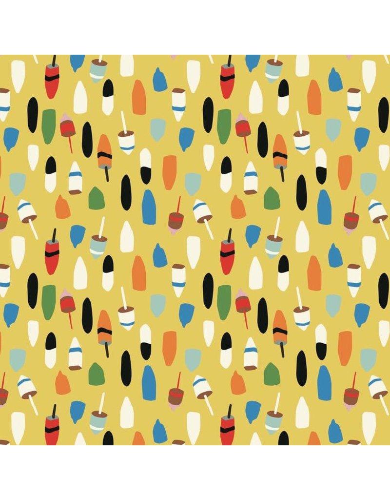 Elizabeth Grubaugh Out to Sea, Bobbing Buoys in Gold, Fabric Half-Yards 126.107.02.2
