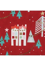 Alexander Henry Fabrics Christmas Time, Neighborhood Noel in Red with Gold Metallic, Fabric Half-Yards M8755B