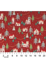 Alexander Henry Fabrics Christmas Time, Neighborhood Noel in Red with Gold Metallic, Fabric Half-Yards M8755B