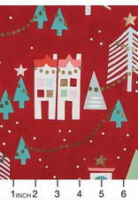 Christmas Collection Christmas Time, Neighborhood Noel in Red with Gold Metallic, Dinner Napkin