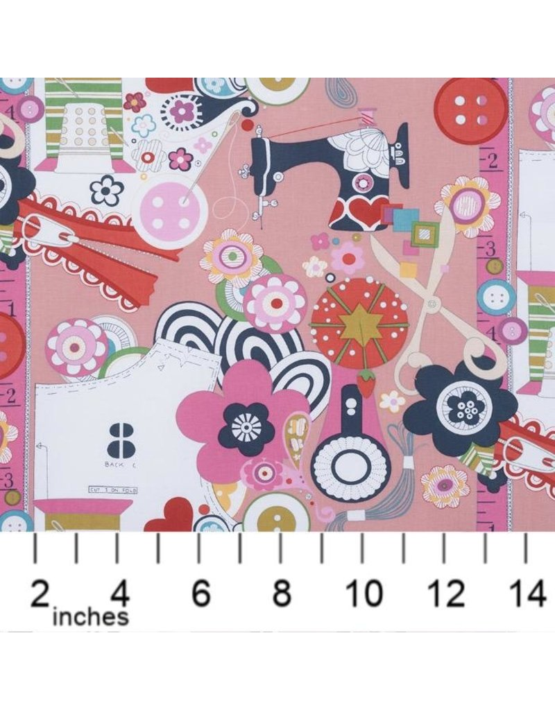 Alexander Henry Fabrics Nicole's Prints, Sew Now! Sew Wow! in Pink, Fabric Half-Yards 6880D
