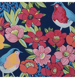 Alexander Henry Fabrics Birdland, Birds in Navy, Fabric Half-Yards 8534C