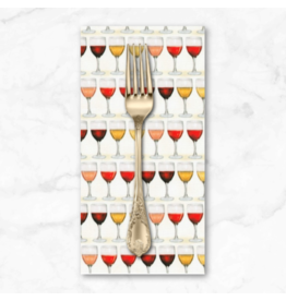 PD's Robert Kaufman Collection Uncork and Unwind, Wine Glasses with Wine, Dinner Napkin
