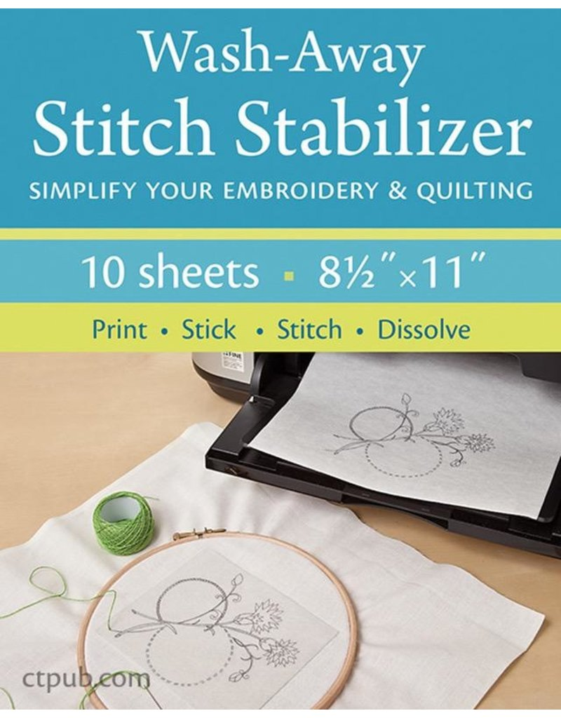 "Wash-Away Stitch Stabilizer, Pack of 10 sheets 8.5""x11"""