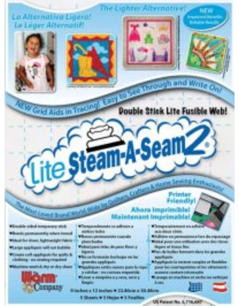 "Lite Steam-A-Seam 2: Pack of 5: 9""x12"" sheets"