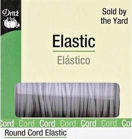 COMING SOON-Round Cord Elastic - White, by the yard