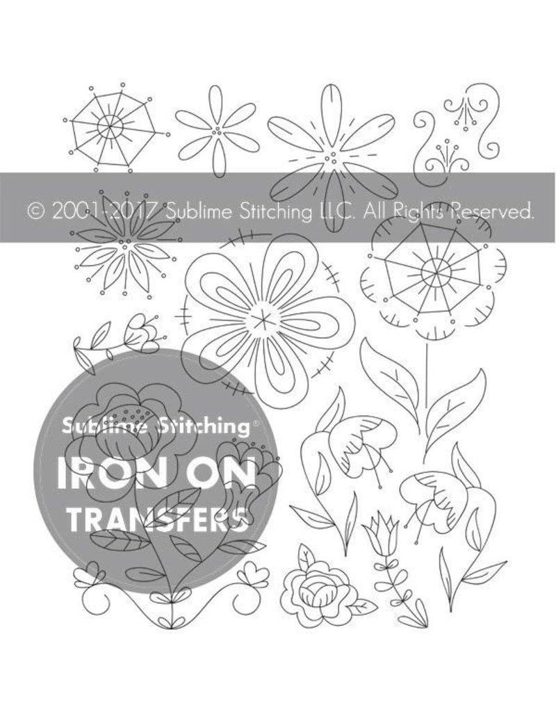 Sublime Stitching Embroidery Iron-On Transfers, Fantasy Flowers, from Sublime Stitching