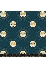 Rashida Coleman-Hale Ruby Star Society, Stellar, Sunnymoon in Peacock with Gold Metallic, Fabric Half-Yards RS1006 13M