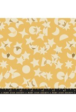 Rashida Coleman-Hale Ruby Star Society, Stellar, Space Junk in Butter with Gold Metallic, Fabric Half-Yards RS1008 12M