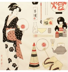 Alexander Henry Fabrics Indochine, Geisha Coterie in Light Tea, Fabric Half-Yards
