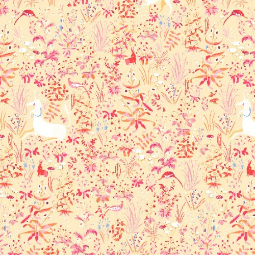 Lizzy House Cotton Lawn, The Hit Parade, Tapestry in Orange, Fabric Half-Yards