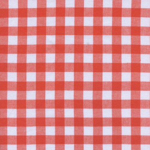 """Cotton + Steel Checkers Woven 1/2"""" Gingham in Coral, Fabric Half-Yards"""