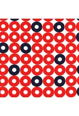 Kim Kight Rayon, Rotary Club, Ring Rings in Red and Navy, Fabric Half-Yards