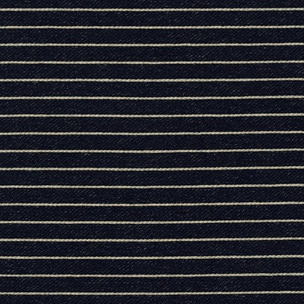 Robert Kaufman Indigo Medium Weight Knit, Wide Stripes in Indigo, Fabric Half-Yards