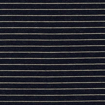 Robert Kaufman Indigo Medium Weight Knit, Wide Stripes in Indigo, Fabric Half-Yards