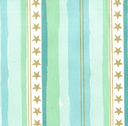 Michael Miller Brushed Cotton Flannel, Magic, Stars and Stripes in Aqua, Fabric Half-Yards