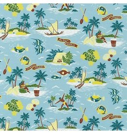 Sevenberry Island Paradise, Aloha Hawaii in Mist, Fabric Half-Yards SB-4147D1-1