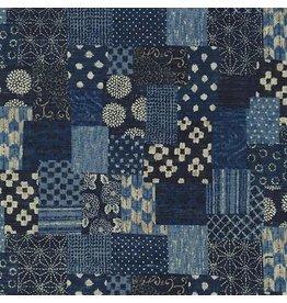 Sevenberry Nara Homespun, Boro in Indigo, Fabric Half-Yards SB-88500D3-1