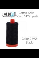 Aurifil Thread, 50wt, 100% Cotton Mako, Large Spool 1422 yds.<br /> Color 2692: Black