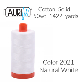 Aurifil Thread, 50wt, 100% Cotton Mako, Large Spool 1422 yds.<br /> Color 2021: Natural White