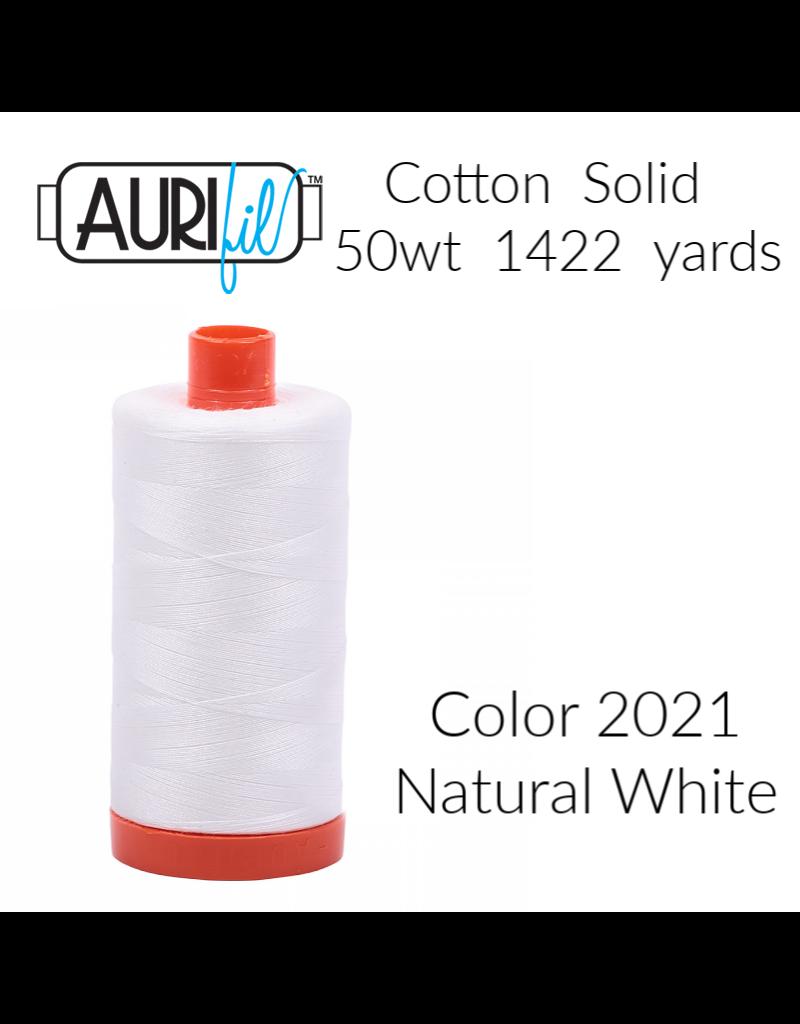 Aurifil Thread, 50wt, 100% Cotton Mako, Large Spool 1422 yds.<br /> Color 2021: Natural White