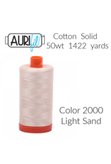 Aurifil Thread, 50wt, 100% Cotton Mako, Large Spool 1422 yds.<br /> Color 2000: Light Sand