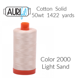 Aurifil Thread, 50wt, 100% Cotton Mako, Large Spool 1422 yds.<br /> Color 2000: Light Sand