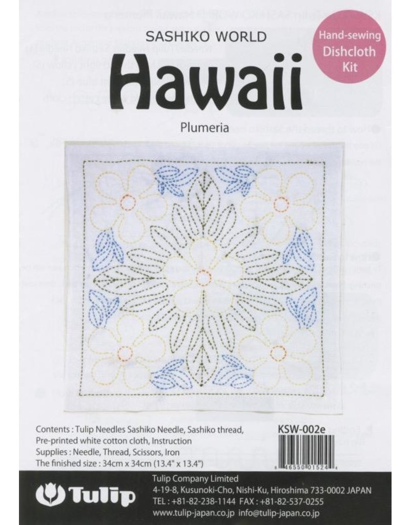 Tulip Sashiko World, Hawaii Plumeria Sashiko Kit, by Tulip