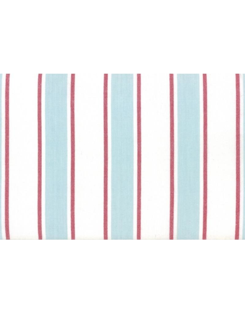 "Moda Woven Toweling, 18"", Rock Pool Toweling in Seaglass with Red Stripes  992 250, Sold by the Yard"