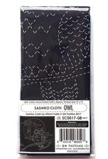 QH Textiles Sashiko Cloth, Owl in Navy