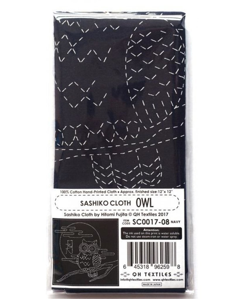 Olympus Sashiko Cloth, Owl in Navy