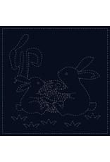 QH Textiles Sashiko Cloth, Rabbit in Navy
