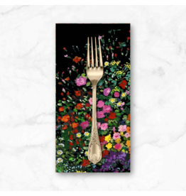PD's Michael Miller Collection Eat, Sleep, Garden, Bowers of Flowers Border Print in Black, Dinner Napkin