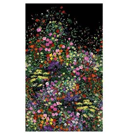 Michael Miller Eat, Sleep, Garden, Bowers of Flowers Border Print in Black, Fabric Half-Yards DCX9059