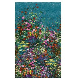 Michael Miller Eat, Sleep, Garden, Bowers of Flowers Border Print in Teal, Fabric Half-Yards DCX9059