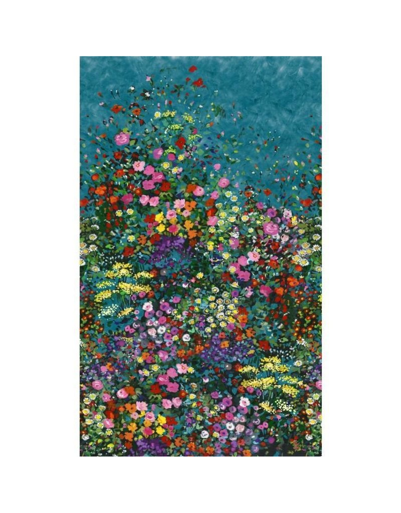 Michael Miller Eat, Sleep, Garden, Bowers of Flowers Border Print in Teal, Fabric Half-Yards DCX9059