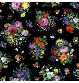 Michael Miller Eat, Sleep, Garden, Fresh Cut in Black, Fabric Half-Yards DCX9063
