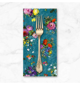 PD's Michael Miller Collection Eat, Sleep, Garden, Fresh Cut in Teal, Dinner Napkin