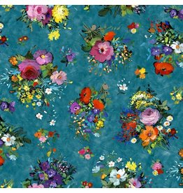 Michael Miller Eat, Sleep, Garden, Fresh Cut in Teal, Fabric Half-Yards DCX9063