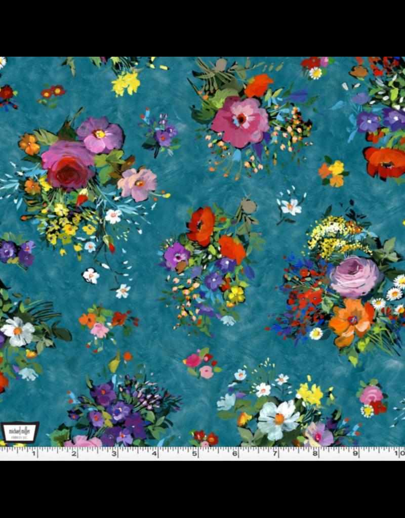 Michael Miller Eat, Sleep, Garden, Fresh Cut in Teal, Fabric Half-Yards DCX9063