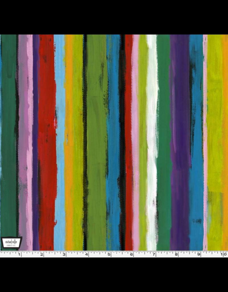 Michael Miller Eat, Sleep, Garden, Painters Stripe in Multi, Fabric Half-Yards DCX9065