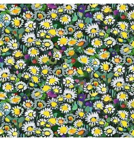 Michael Miller Eat, Sleep, Garden, Lawn Daisies in Yellow, Fabric Half-Yards DCX9064