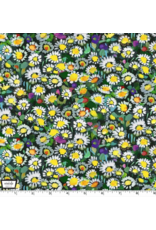Michael Miller Eat, Sleep, Garden, Lawn Daisies in Yellow, Fabric Half-Yards DCX9064