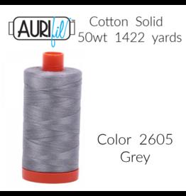 Aurifil Thread, 50wt, 100% Cotton Mako, Large Spool 1422 yds.<br /> Color 2605: Grey