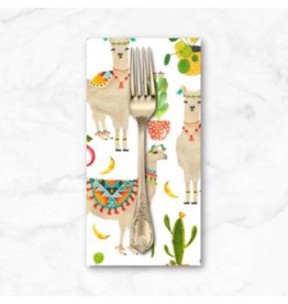 PD's Michael Miller Collection West, Llamas and Cacti in White, Dinner Napkin