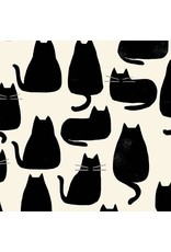 PD's Sarah Golden Collection Home, Black Cats on Cream, Dinner Napkin