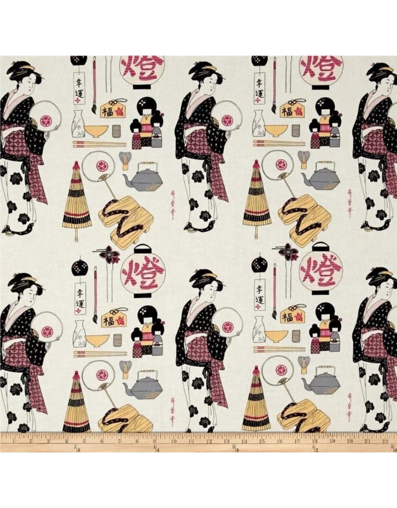 PD's Alexander Henry Collection Indochine, Geisha in Ivory, Dinner Napkin