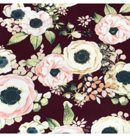Picking Daisies ON SALE-Two Yard Cut,  Double Brushed Poly Spandex (Lightweight Jersey Knit), Anemone in Ruby/Blush , Two FULL-Yards