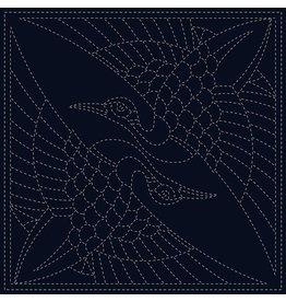 QH Textiles Sashiko Cloth, Two Cranes in Navy